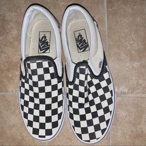 Off White Checkered Slip On Vans